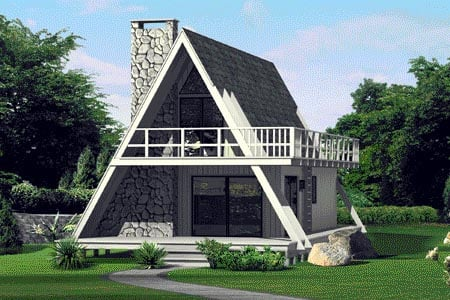 A-Frame, Contemporary, Retro House Plan 86950 with 3 Beds, 2 Baths Front Elevation