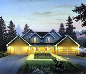 Country Traditional Multi-Family Plan 86954 Elevation