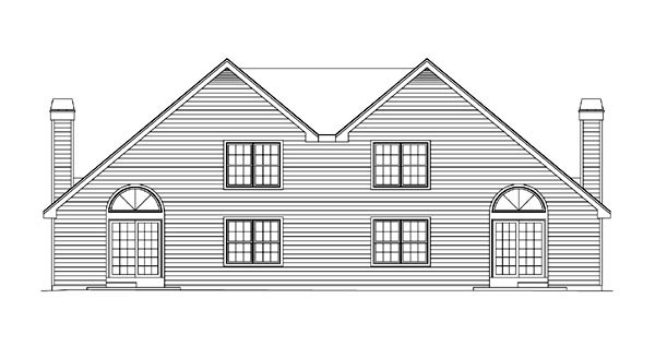 Country Traditional Rear Elevation of Plan 86954