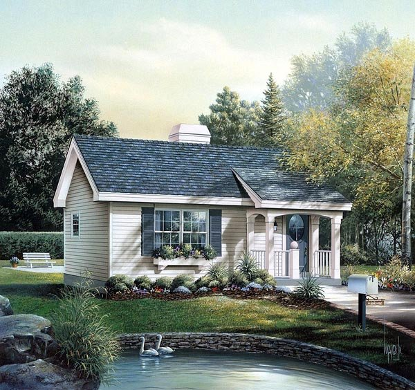 Cabin Colonial Cottage Country Ranch House Plan 86955 Elevation