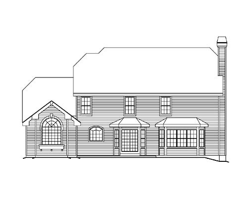 Traditional House Plan 86963 with 4 Beds, 4 Baths, 1 Car Garage Rear Elevation