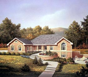 Ranch House Plan 86966 with 4 Beds, 3 Baths, 3 Car Garage Elevation