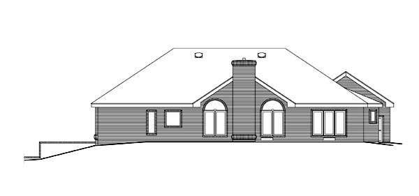 Ranch House Plan 86966 with 4 Beds, 3 Baths, 3 Car Garage Rear Elevation