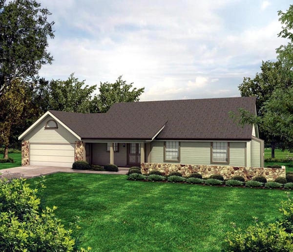 Cabin, Cottage, Country, Ranch House Plan 86967 with 3 Beds, 1 Baths, 2 Car Garage Elevation