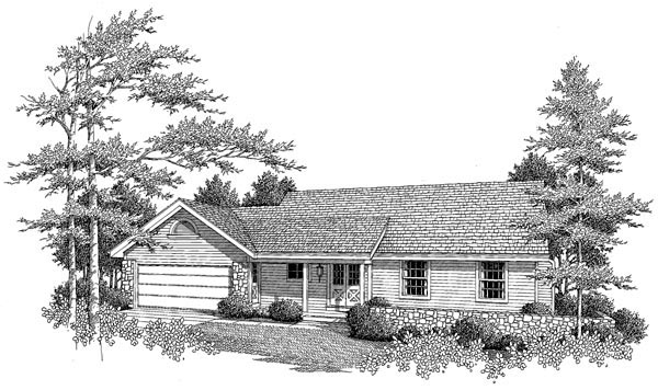 Cabin, Cottage, Country, Ranch House Plan 86967 with 3 Beds, 1 Baths, 2 Car Garage Picture 3