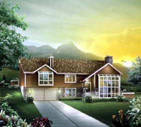 House Plan 86969 | Contemporary Style Plan with 3510 Sq Ft, 3 Bedrooms, 3 Bathrooms, 2 Car Garage Elevation