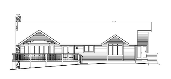 House Plan 86969 | Contemporary Style Plan with 3510 Sq Ft, 3 Bedrooms, 3 Bathrooms, 2 Car Garage Rear Elevation