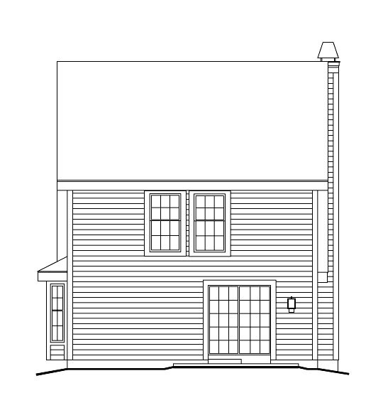 Cabin Cape Cod Cottage Country Rear Elevation of Plan 86973