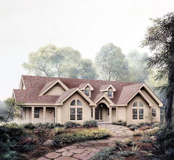 Cape Cod Country Craftsman Ranch House Plan 86974 Elevation