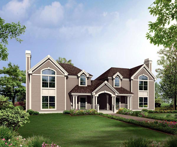 Contemporary Country Traditional Multi-Family Plan 86976 Elevation