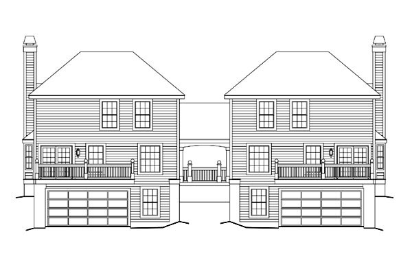 Contemporary, Country, Traditional Multi-Family Plan 86976 with 6 Beds, 6 Baths, 4 Car Garage Rear Elevation