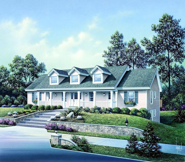 Cape Cod , Country , Ranch Multi-Family Plan 86977 with 5 Beds, 5 Baths Elevation
