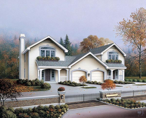 Country, Ranch, Traditional Multi-Family Plan 86979 with 4 Beds, 4 Baths Elevation