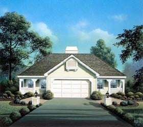 Multi-Family Plan 86980 | Cabin Cottage Country Ranch Style Plan with 1688 Sq Ft, 2 Bedrooms, 2 Bathrooms, 2 Car Garage Elevation