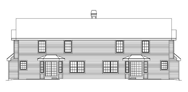 Craftsman European Traditional Multi-Family Plan 86982 Rear Elevation