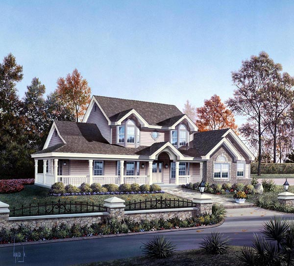 Colonial Country Farmhouse Southern Traditional House Plan 86984 Elevation