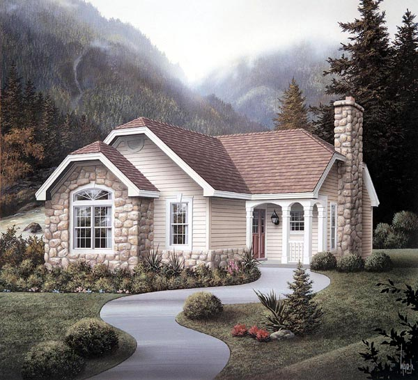 Cabin, Cottage, Country, Ranch House Plan 86986 with 2 Beds, 2 Baths, 1 Car Garage Elevation