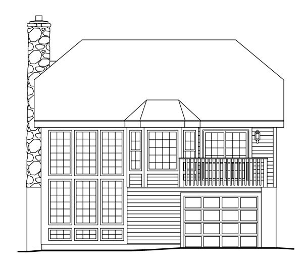 Cabin, Cottage, Country, Ranch House Plan 86986 with 2 Beds, 2 Baths, 1 Car Garage Rear Elevation