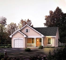 House Plan 86989 | Cabin Cottage Country Ranch Traditional Style Plan with 888 Sq Ft, 2 Bedrooms, 1 Bathrooms, 1 Car Garage Elevation
