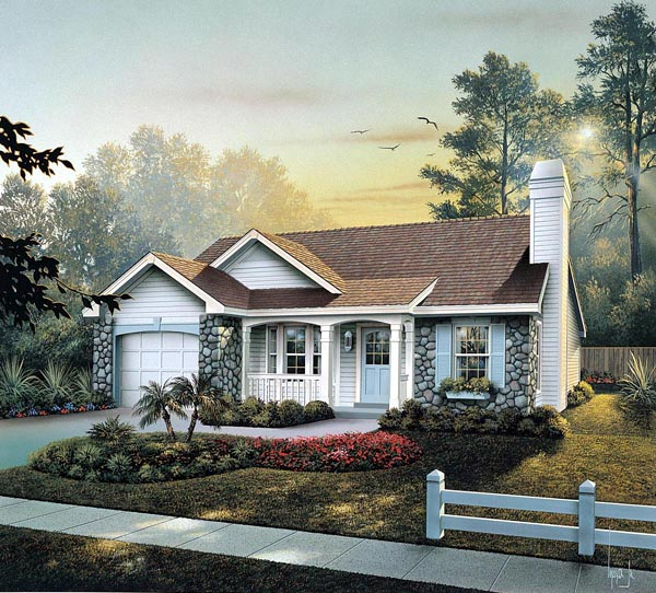 Cabin , Cottage , Country , Ranch , Traditional House Plan 86990 with 3 Beds, 2 Baths, 1 Car Garage Elevation