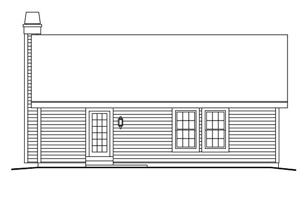 Cabin , Cottage , Country , Ranch , Traditional House Plan 86990 with 3 Beds, 2 Baths, 1 Car Garage Rear Elevation