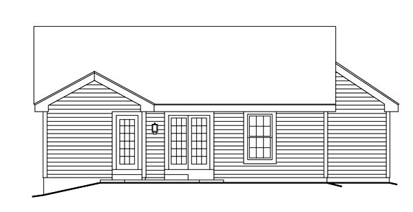 Traditional , Ranch , Cottage , Cabin House Plan 86992 with 3 Beds, 2 Baths, 2 Car Garage Rear Elevation