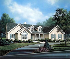 Cape Cod , Country , Ranch , Traditional House Plan 86993 with 4 Beds, 3 Baths, 3 Car Garage Elevation