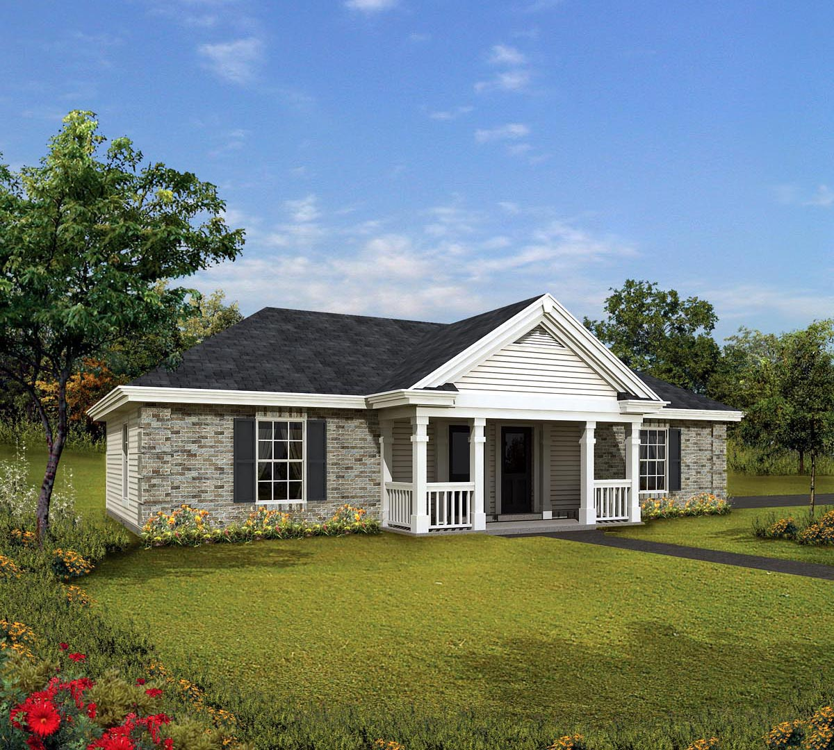 House plan 86995 at for Wide ranch house plans