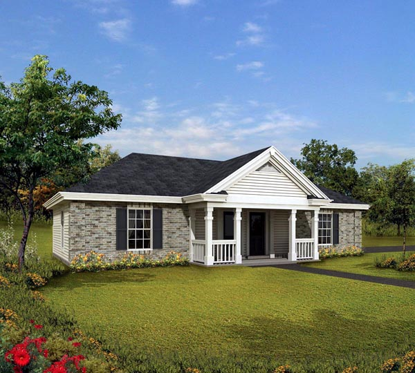 Cabin cottage country ranch traditional house plan 86995 for Traditional ranch house plans