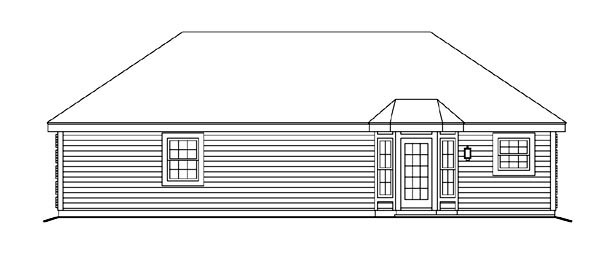 Cabin , Cottage , Country , Ranch , Traditional House Plan 86995 with 1 Beds, 1 Baths, 2 Car Garage Rear Elevation