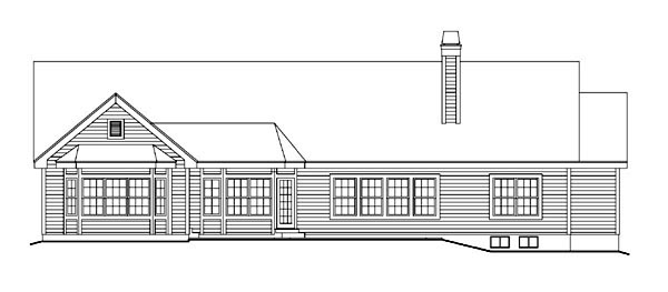 Retro , Traditional , Rear Elevation of Plan 86997