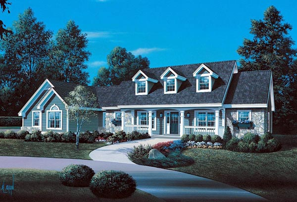 Cape Cod Country Ranch Southern Traditional House Plan 86998 Elevation