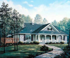 Cape Cod Country Ranch Southern Traditional House Plan 86999 Elevation