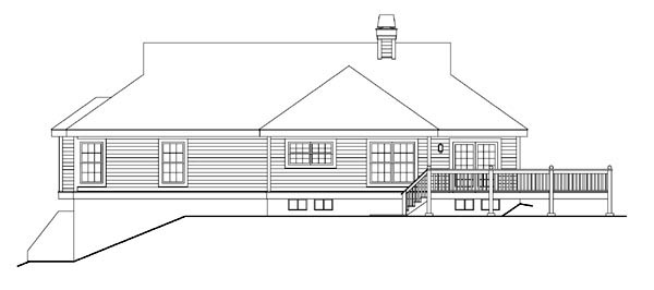 Cape Cod Country Ranch Southern Traditional House Plan 86999 Rear Elevation