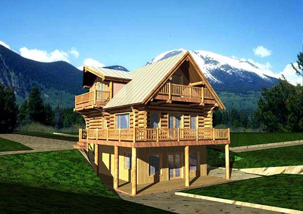 Log House Plan 87000 Elevation