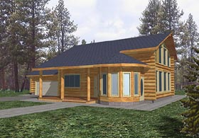 House Plan 87001 | Log Style Plan with 2813 Sq Ft, 3 Bedrooms, 2.5 Bathrooms, 2 Car Garage Elevation