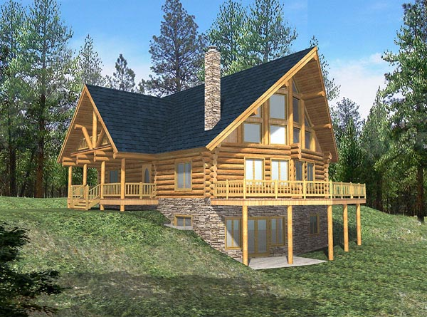 Contemporary Log House Plan 87002 Elevation