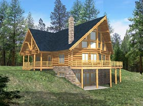 Contemporary Log House Plan 87003 Elevation