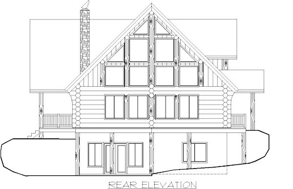 Contemporary, Log House Plan 87003 with 6 Beds, 3 Baths Rear Elevation