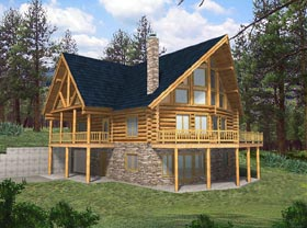 Contemporary , Log House Plan 87004 with 4 Beds, 2.5 Baths, 2 Car Garage Elevation
