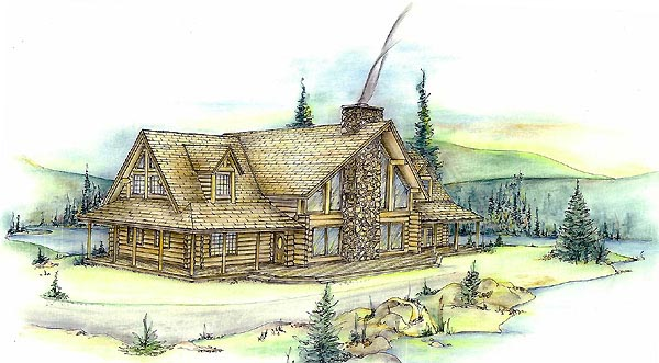 Contemporary , Log , Elevation of Plan 87005