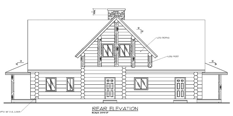 Contemporary , Log , Rear Elevation of Plan 87005