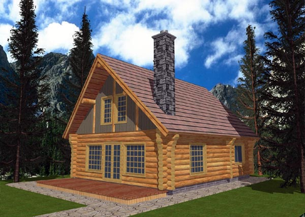 Log House Plan 87006 Elevation