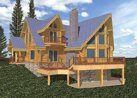 Contemporary Log House Plan 87007 Elevation