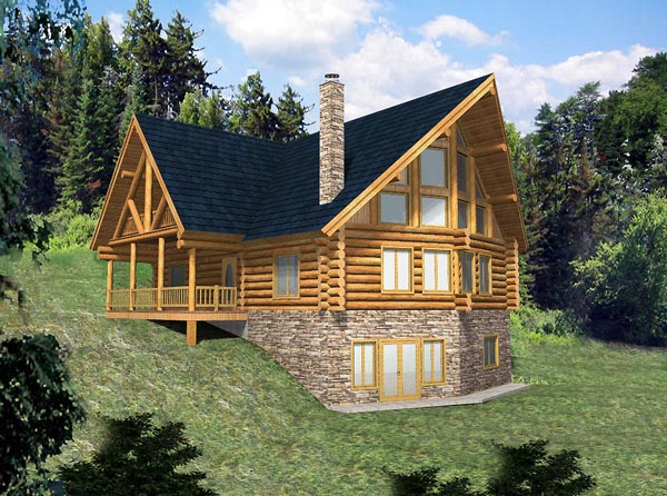 Contemporary Log Elevation of Plan 87008