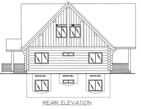 Contemporary Log House Plan 87008 Rear Elevation