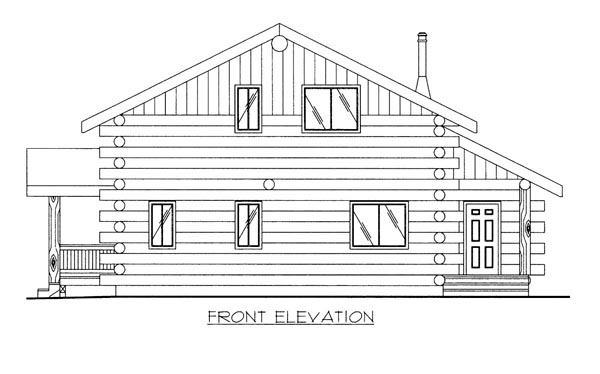 Log House Plan 87009 Elevation