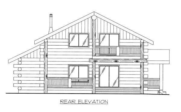 Log House Plan 87009 Rear Elevation