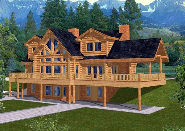 Log House Plan 87010 Elevation