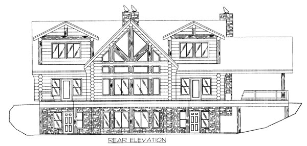 Log House Plan 87010 Rear Elevation